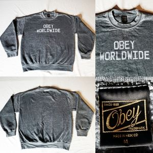 Obey Worldwide Crewneck Vintage Distressed Sweater